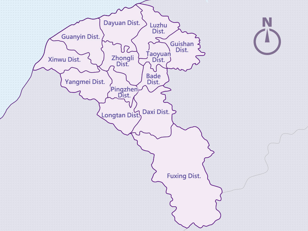 Taoyuan City Administrative Divisions Map