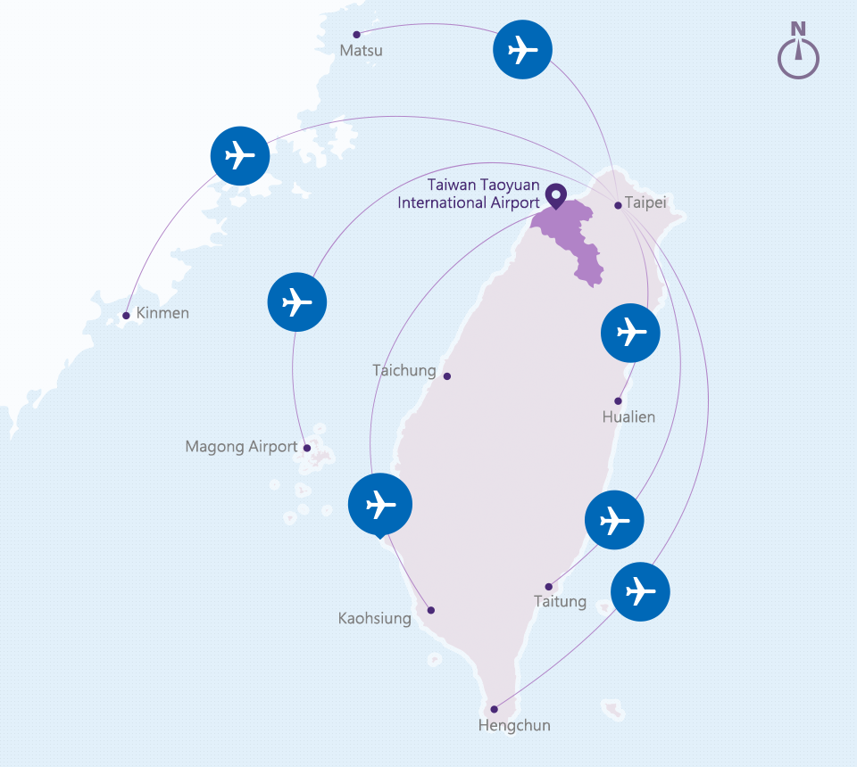 Airline Route Map to Taoyuan