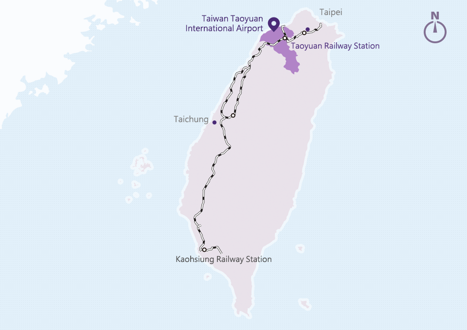 Railway Route Map to Taoyuan