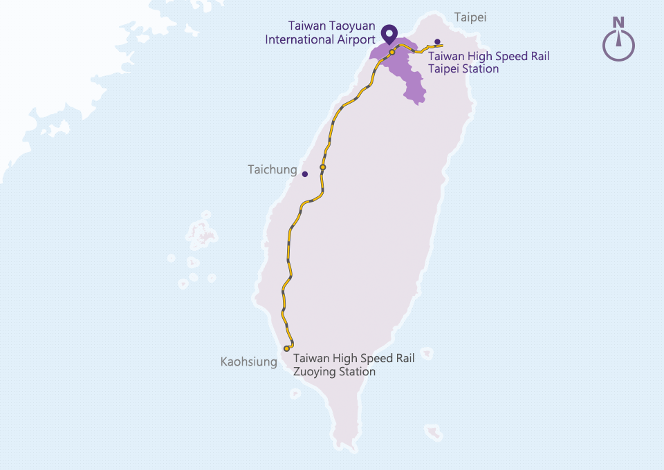 THSR Route Map to Taoyuan