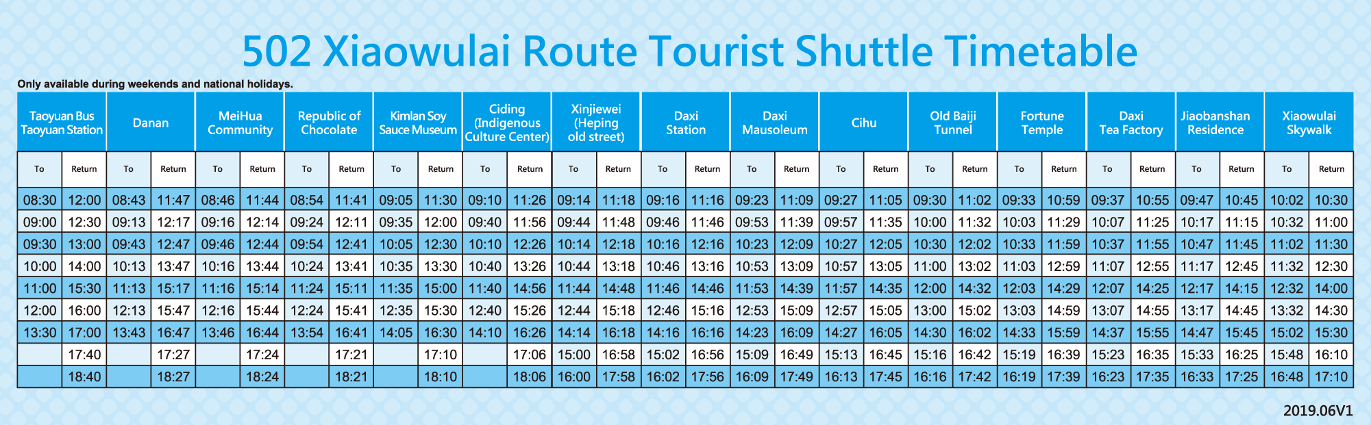 Xiaowulai Route Timetable